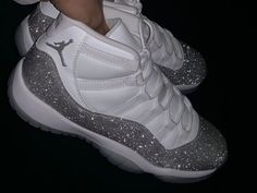 Where to buy WMNS Air Jordan 11 XI 'Metallic Silver' -Vast Grey 2019 - - This women exclusive Air Jordan 11 highlighted with a White upper, replacing the traditional glossy patent overlay is a shiny Silver which mimics the look of crystals. Jordan Shoes Girls, Jordans Girls, Air Jordan Shoes, Girls Shoes, Air Jordans, Outfits With Jordans, Cool Jordans, Jordan 11 Outfit, Retro Jordans