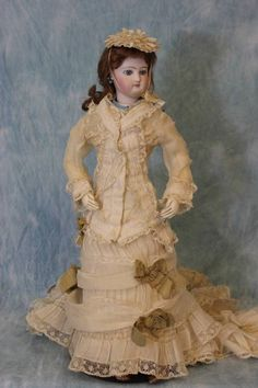 """Antique All Original 17"""" Jumeau French Fashion Doll C 1870 Dress Slip Jewelry. This beautiful doll was sold by the Simmone doll store in France …"""