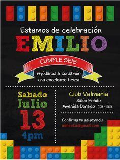 Lindas ideas para fiestas infantiles Lego Themed Party, Birthday Party Themes, Lego Movie Birthday, Lego Candy, Lego Decorations, Ninjago Party, Lego Invitations, Fiesta Party, Party Kit