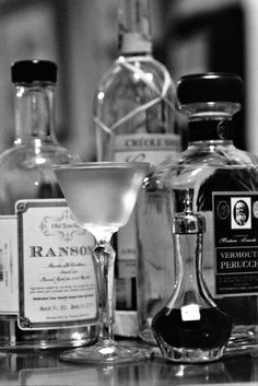 Yellow Daisy Cocktail* (6 People) 2 Glasses Gin. (1 oz Ransom Old Tom Gin) 2 Glasses French Vermouth. (1 oz Vermouth Perucchi Blanc) 1 Glass Grand Marnier. (1/2 oz Clement Creole Shrubb Orange Liqueur) Before shaking add a dash of Absinthe. (1 dash Duplais Verte Absinthe)