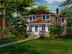 11 x14 watercolor house portrait of stucco residence in Minneapolis. Created by Custom House Portraits by Richelle Flecke
