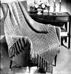 Unique Lattice Lace Afghan Knitting Pattern by Shellbeestreasures