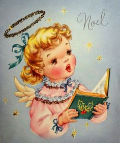 "Vintage Christmas CardC irca ~ Wallace / Brown ""Noel"" Beautiful angel wearing a pretty pink gown and golden halo singing hymns. Accented with gold glitter Vintage Christmas CardCard is in excel. Images Vintage, Vintage Christmas Images, Retro Christmas, Vintage Holiday, Christmas Pictures, Old Time Christmas, Old Fashioned Christmas, Christmas Past, Christmas Angels"