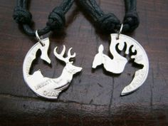 Buck and Doe Necklace, Love Quarter, Engaged Couples, Puzzle, Hand Cut Coin