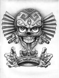 Afbeelding van http://image.lowriderarte.com/f/features/0811_lrap_flesh_art_dia_de_los_muertos/25539050/lrap_0811_05_z%2Bdia_de_los_muertos%2Bskull_with_crown.jpeg.jpg.