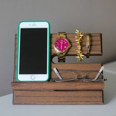 Solid Oak Wood Valet iPhone 6+ Galaxy Charging Stand Nightstand Dock Graduation Father's Day Birthday For Him night stand