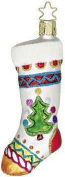 Christmas Stocking - Hung with Love - with Legend Card - Glass Christmas ornament from Inge-Glas of Germany. Available at www.mygrowingtraditions.com