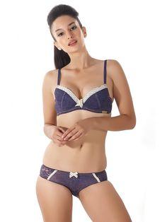 8ebe69c48653f Shyle Navy Blue Lace Bra   Panty Set