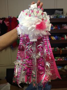 """10"""" All Pink Homecoming Mum. Baby Shower Mum. Princess Homecoming Mum. Find Mum Event on Facebook. We create custom designs and ship all over the U.S.  https://www.facebook.com/mumeventhomecomingmums"""