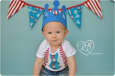 Banner & suspenders on onesie for pics