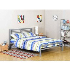 Bed Metal Frame for Kids Bedroom, Teenager and Dorm. (Color: Silver, Size: full (It is the bed under the loft bed) *** Want additional info? Click on the image.