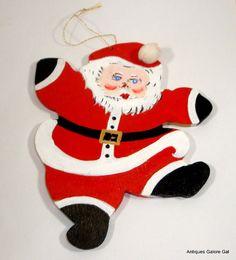 Vintage Wood Santa Ornament Christmas Ornament by VintageTinsel