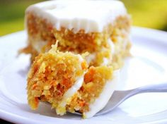 The carrot, coconut and fresh pineapple meld so well that their flavors become one in a sense. I love this cake and you will too! Just think this cake has all the food groups in it. So it's GOTTA be healthy!