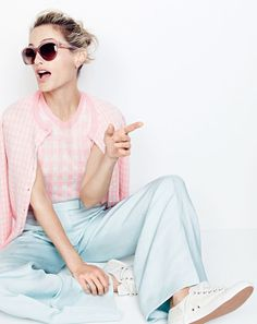J.Crew women's Collection featherweight cashmere cardigan in gingham, Collection featherweight cashmere shell in gingham, Collection wide-leg pant in silk-linen, Ryan sunglasses and Tretorn® canvas T56 sneakers.