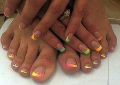 How to Choose Nail Tips – Page 6170835705 – NaiLovely Neon Toe Nails, Pretty Toe Nails, Toe Nail Color, Cute Toe Nails, Summer Toe Nails, Feet Nails, Toe Nail Art, Fancy Nails, Nail Colors