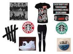 """""""5 Seconds of Summer Inspired"""" by demonlover2002 ❤ liked on Polyvore featuring Miss Selfridge and Converse"""