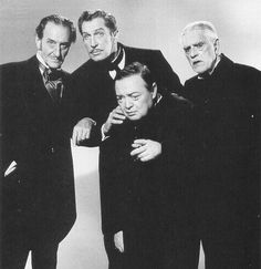 Vincent Price, Peter Lorre, Basil Rathbone, and Boris Karloff. Promo shot for 'The Comedy of Terrors'.