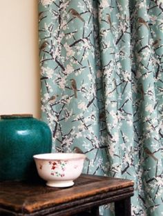 Emily Burningham Hawthorn and Sparrows grey / green linen