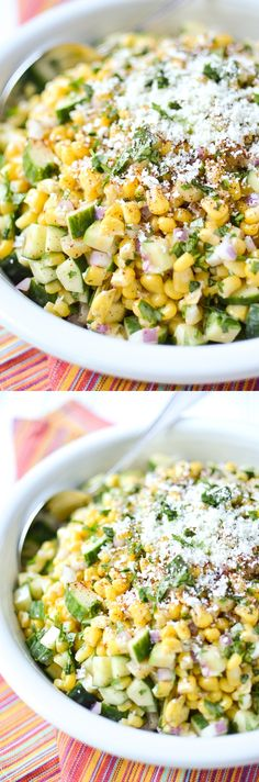 Mexican Street Corn and Cucumber Salad This slightly spicy corn and cucumber salad is inspired by Mexican street corn - topped with fresh cilantro and grated Cojita cheese. Healthy Side Dishes, Side Dish Recipes, Supper Recipes, Vegetable Dishes, Salad Dressing Recipes, Salad Recipes, Cooking Recipes, Healthy Recipes, Delicious Recipes