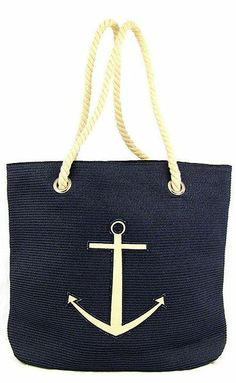 Nautical Anchor Tote Bag with Rope Handles ♡