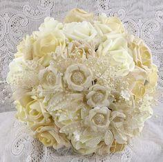 IvoryChampagne&Gold Wedding BouquetNeutral by RITZYGLITZYJEWELRY