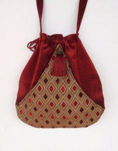 Brick Red Velvet Tapestry Pocket Boho Bag  by piperscrossing, $42.00