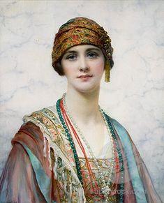 William Clarke Wontner (British 1857–1930) [Portraits, Academicism, Classicism, Romanticism] The Turban, 1920.