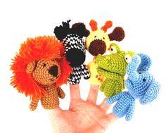 5 finger puppet crocheted lion giraffe elephant zebra by crochAndi, $30.00