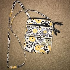 Vera Bradley crossbody Has adorable leopard print inside and throughout the bag! Very roomy for a small bag! Has ID pouch in the front. Used a few times Vera Bradley Bags Crossbody Bags