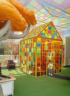 Gorgeous play house.  Look at the reflection on the ceiling.  Plus, there's no way for someone to hide in it.  Central Library - Children's Reading Room - Gallery - UrbanArt Commission