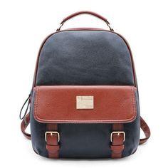 Designer Fashion Color-Block Quality Leather Backpack 4 Colors
