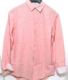 Mens Elie Tahari Jonas Shirt Papaya Long Sleeves Button Front Cotton S $198 #ElieTahari #ButtonFront