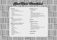 KonMari Checklist suomeksi