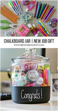 Congratulations Gift Idea - Office Supply Chalkboard Jar gift baskets Craft: New Job Gift in a Chalkboard Jar - See Vanessa Craft Student Teacher Gifts, Teacher Appreciation Gifts, Gifts For New Teachers, Teacher Gift Baskets, Graduation Gift Baskets, Teacher Graduation Party, College Gift Baskets, High School Graduation Gifts, College Gifts
