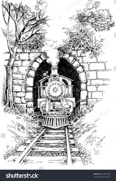 Find Steam train Stock Vectors and millions of other royalty-free stock photos, illustrations, and vectors in the Shutterstock collection. Thousands of new, high-quality images added every day. Landscape Pencil Drawings, Pencil Art Drawings, Art Drawings Sketches, Easy Drawings, Pencil Sketching, Drawing With Pen, Colour Pencil Drawing, Landscape Sketch, Train Drawing