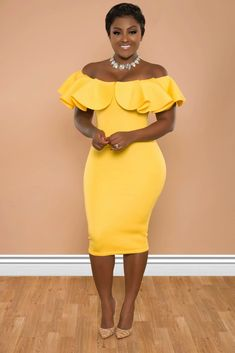 Image of kima dress African Wear Designs, African Bridesmaid Dresses, Cute Dresses, Cute Outfits, Day Makeup Looks, Church Fashion, Church Outfits, Beautiful Black Women, Yellow Black