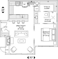 House plans with in law suite cottages kitchens 67 Ideas Br House, Sims House, Tiny House Living, Garage House, Small House Plans, House Floor Plans, 1 Bedroom House Plans, Cottage Bedrooms, Granny Pod