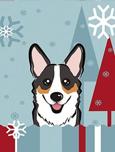 Caroline's Treasures BB1751CHF Winter Holiday Tricolor Corgi Canvas House Size Flag, Multicolor, Large ** Remarkable product available now. : Garden Christmas Decorations