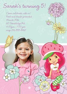 Personalized photo Strawberry Shortcake Birthday Party Invitation