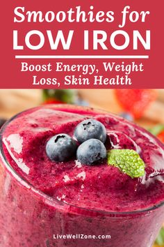 Struggling with low iron symptoms and need low iron remedies? Then try these healthy smoothies for iron deficiency. Energy Smoothie Recipes, Energy Smoothies, Smoothie Diet, Healthy Smoothies, Healthy Drinks, Healthy Recipes, Green Smoothies, Breakfast Smoothies, Low Iron Foods