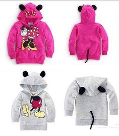 2013 transporte livre 5pcs Crianças dos desenhos animados vestuário meninos meninas Minnie / Mickey hoodies de algodão, moda bebê outwear casaco ajuste 2-5yrs