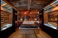 A bed in a 700 year old Stadl, doesn't get much cosier than this! The Backstage Loft — Zermatt, Switzerland, Luxury Ski Chalets, Ski Boutique