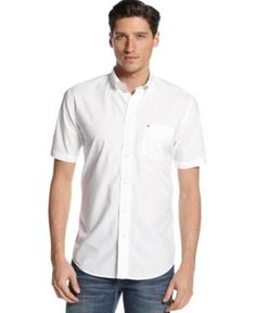 Tommy Hilfiger Men's Maxwell Short-Sleeve Button-Down Shirt  - White XXL