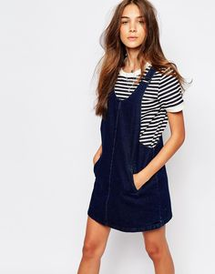 Image 1 of Pull&Bear Denim Pinny Dress