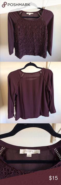 Like New XS Loft Top Like-New XS Loft Top! Cranberry color LOFT Tops Tees - Long Sleeve