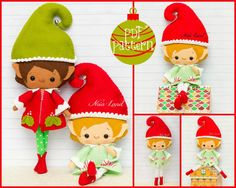 """This PDF sewing pattern is to make the dolls pictured from felt fabrics. These dolls are hand sewn.    Size: 12"""" tall approximately    Language: English"""
