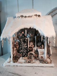 Antique beautiful German winter wonderland Christmas Snow House