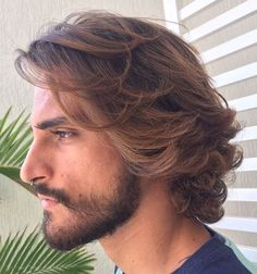 45 Hottest Men's Curly Hairstyles That Attract Women - 45 Hottest Men's Curly Hairstyles That Attract Women men's medium wavy balayage hairstyle Medium Hair Cuts, Long Hair Cuts, Medium Hair Styles, Mens Hair Medium, Mens Medium Long Hairstyles, Haircuts For Long Hair, Short Haircut, Long Curly Hair Men, Men With Long Hair