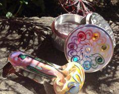 Set: Bright Burst Pocket Pipe & Gem Chrome Tobacco Grinder