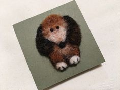 Needle Felted Dog Brooch - Magnet - Brown Puppy - Miniature Dog - Wool Animal - Needle Felted by Marina Lubomirksy by GoldenThreadDesign on Etsy